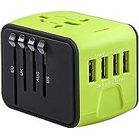 旅行充電器 変換プラグ 急速充電用 コンセント 海外 マルチ電源プラグ 携帯電話用 旅行プラグ(グリーン)