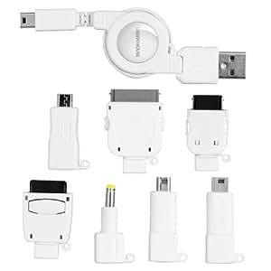 GREEN HOUSE 携帯電話 USB充電ケーブル ホワイト (7コネクタ+MiniB5タイプ) GH-USB-8AD