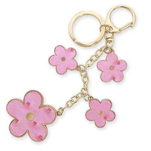 [해외]꽃 가방 참 키 매력 열쇠 고리 열쇠 고리 양면 PU 가죽 타조 바람 형식 눌러 골드 컬러 핑크 꽃/Flower Bag Charm Key Charm Key Ring Key Holder Double Side PU Leather Ostrich Wind Shaped Gold Pink Flower