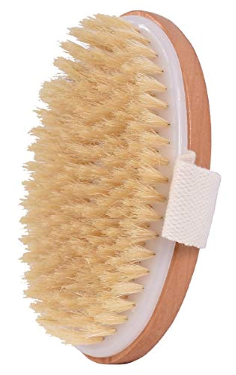 口径修羅場即席ボディブラシ 100%天然高級な豚毛マッサージ バス用品 竹製シャワーブラシ お風呂用体洗い角質除去 美肌効果 血液循環を改善し、健康と美容に良い