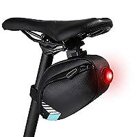 自転車用サドルバッグ、自転車バッグ後部座席収納バッグバイク防雨 MTB ロードバイクサイクリング LED テールライト付き
