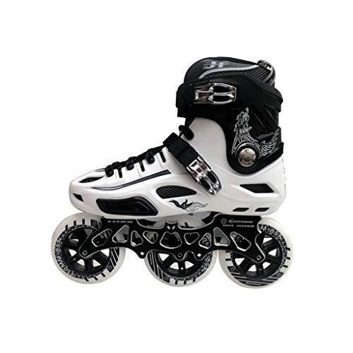 Ailj インラインスケート、 3輪110MMホイール 大人用1列スケート フルフラッシュ ローラースケート 白黒 (色 : B, サイズ さいず : EU 44/US 11/UK 10/JP 27cm)