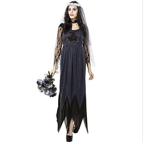 ハロウィン 衣装 ゾンビ 幽霊の 花嫁 魔女 コスプレ 仮装 コスチューム ベール 首飾り 3点セット (M)