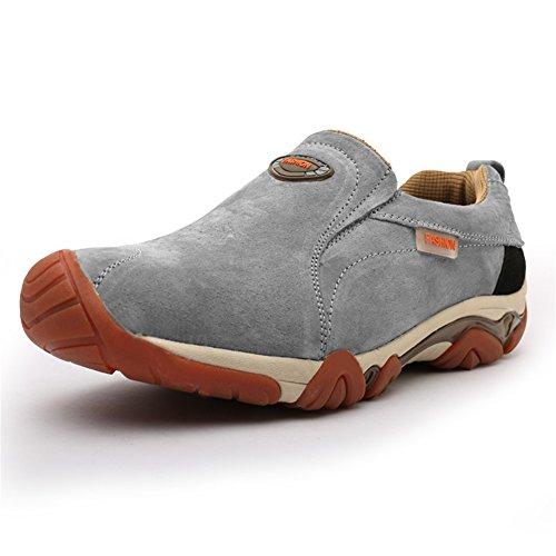 ウォーキングシューズ ハイキングシューズ カジュアル靴 登山靴 防滑 通気性(グレー 26.5)