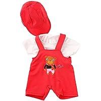 monkeyjack肩ストラップパンツTシャツHat Outfit for 43 / 45 cm ZapfベビーBorn人形レッド
