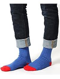 (アビト) ソックス メンズ 靴下 リブ 無地 クルー丈 バイカラー 日本製 国産