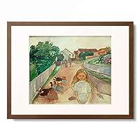 エドヴァルド・ムンク Edvard Munch 「Children playing in the street in Asgardstrand」 額装アート作品