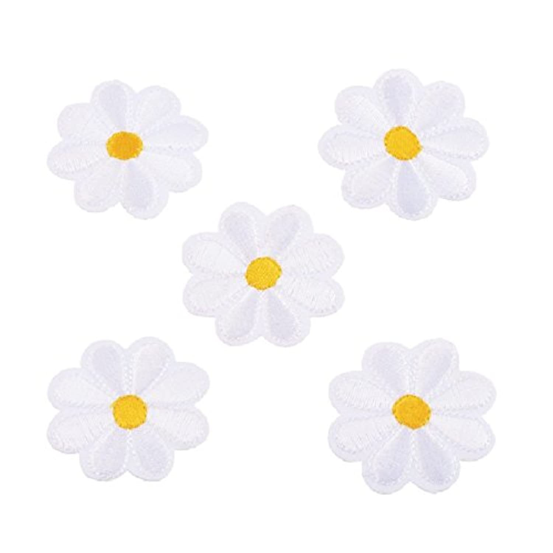 HOUSWEETY 可愛い 花 フラワー 刺繍 アップリケ ワッペン アイロンで貼り付け 縫い付け 手作り 手芸 アクセサリーパーツ 5枚入り (ホワイト)