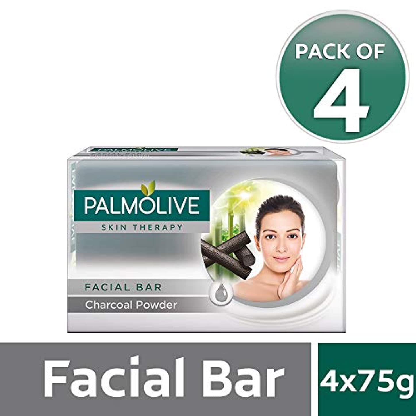 ハミングバード上流の文芸Palmolive Skin Therapy Facial Bar Soap with Charcoal Powder - 75g (Pack of 4)