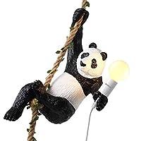LLYU 中国のパンダ樹脂動物ランプアンティーククラシックE27ヴィンテージシャンデリアレストランベッドルームホテル[エネルギーグレードA]