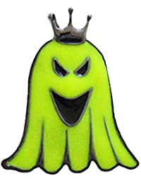 GuDeKe ユニセックス ハロウィンモチーフ 夜光 蓄光 蛍光緑色 幽霊 ブローチ ラペルピン (B)
