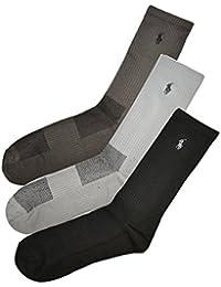 (ポロ ラルフローレン) POLO RALPH LAUREN メンズ 靴下 (3足セット) アーチサポート ウルトラライト メッシュ ハイソックス グレーアソート [25cm-30cm] [821049pkgyast]...