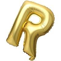 GRALARAアルミ バルーン ウィディング パーティー 自由組み合わせ 文字 アルファベット 風船 A-Z 40インチ 全2色26パターン選べる - R, ゴールド