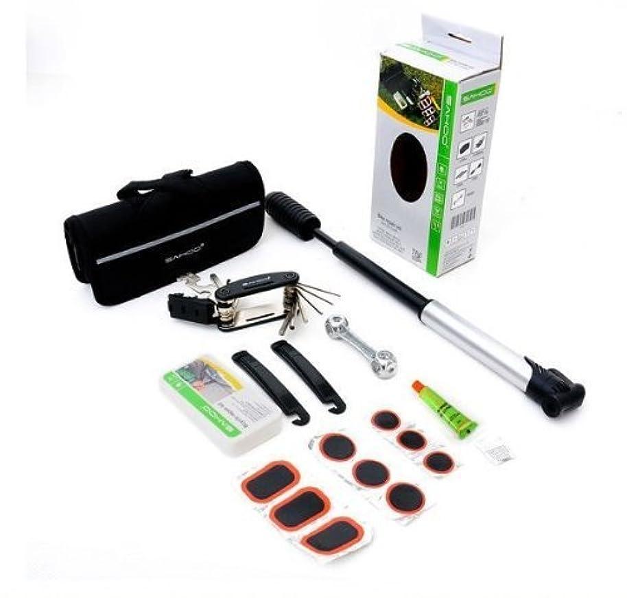 引用力学ニュースT_B037』 NinoLite 自転車 パンク 修理 工具 セット 空気入れ付 安心な バイク 携帯 マルチ ツール