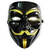 アノニマス ガイ・フォークス マスク ブラック&ゴールド コスチューム用小物 20.5cm