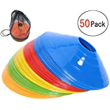 彼岸花の小屋 マーカーコーン トレーニングコーン コンパクト マーカーディスク サッカー/フットサル用 カラーコーン 5色 50枚セット収納袋付き