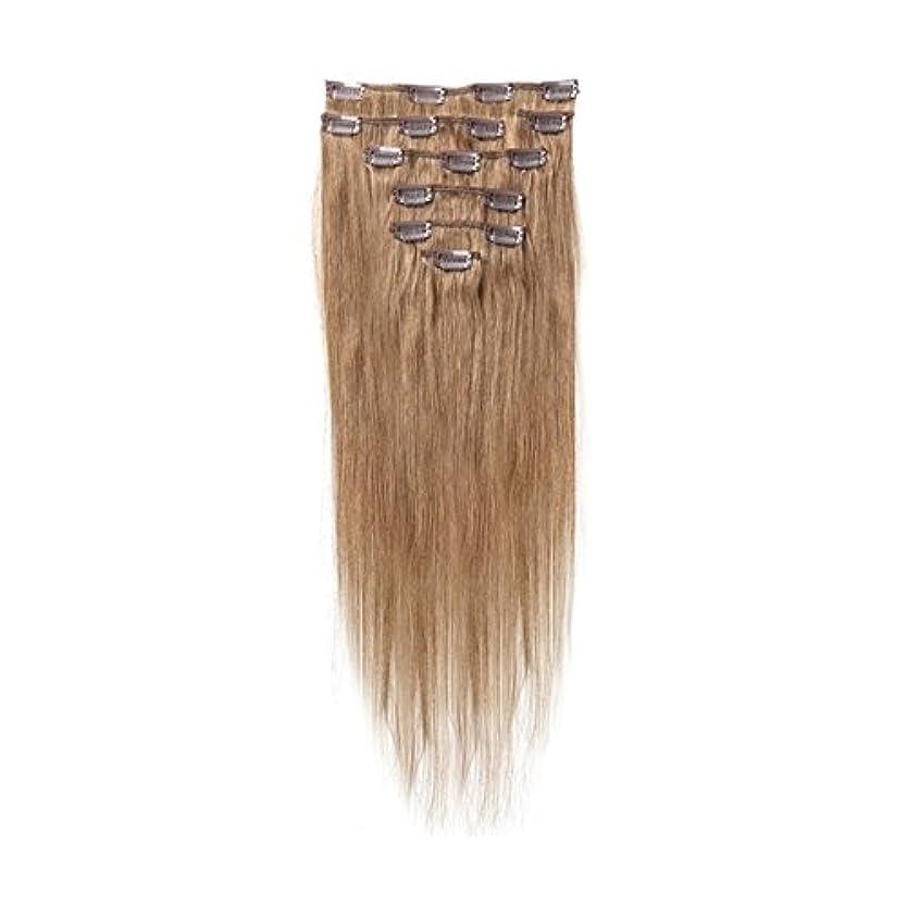 小麦包囲道徳のヘアエクステンション,SODIAL(R) 女性の人間の髪 クリップインヘアエクステンション 7件 70g 15インチ ブラウン