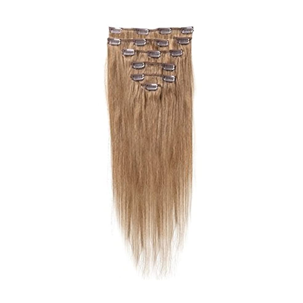 流出菊グリルヘアエクステンション,SODIAL(R) 女性の人間の髪 クリップインヘアエクステンション 7件 70g 18インチ ブラウン