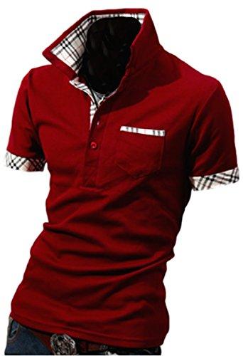 J.M.K メンズ ポロシャツ 半袖 無地 シンプル チェック 柄 コットン スリム フィット トップス スポーツ ウェア ゴルフ ウエア (ワインレッド XL)