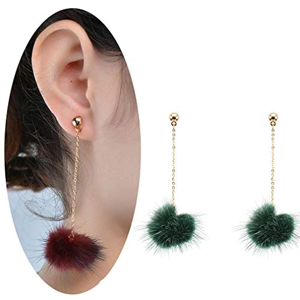 豚肉むしろ葉を集めるヘアボールイヤリング、単純な小さなIncenseファッション新しい冬イヤリング、ブラック グリーン XMZB006