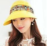 3way 帽子 フェイス カバー 付 レディース 紫外線 UV 日よけ 対策 女性 エレガント サンバイザー 通気性 抜群 (イエロー)