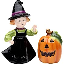 Cosmos Gifts 56550 Halloween Pumpking and Witch Salt and Pepper Set, 2-1/4-Inch by Cosmos Gifts