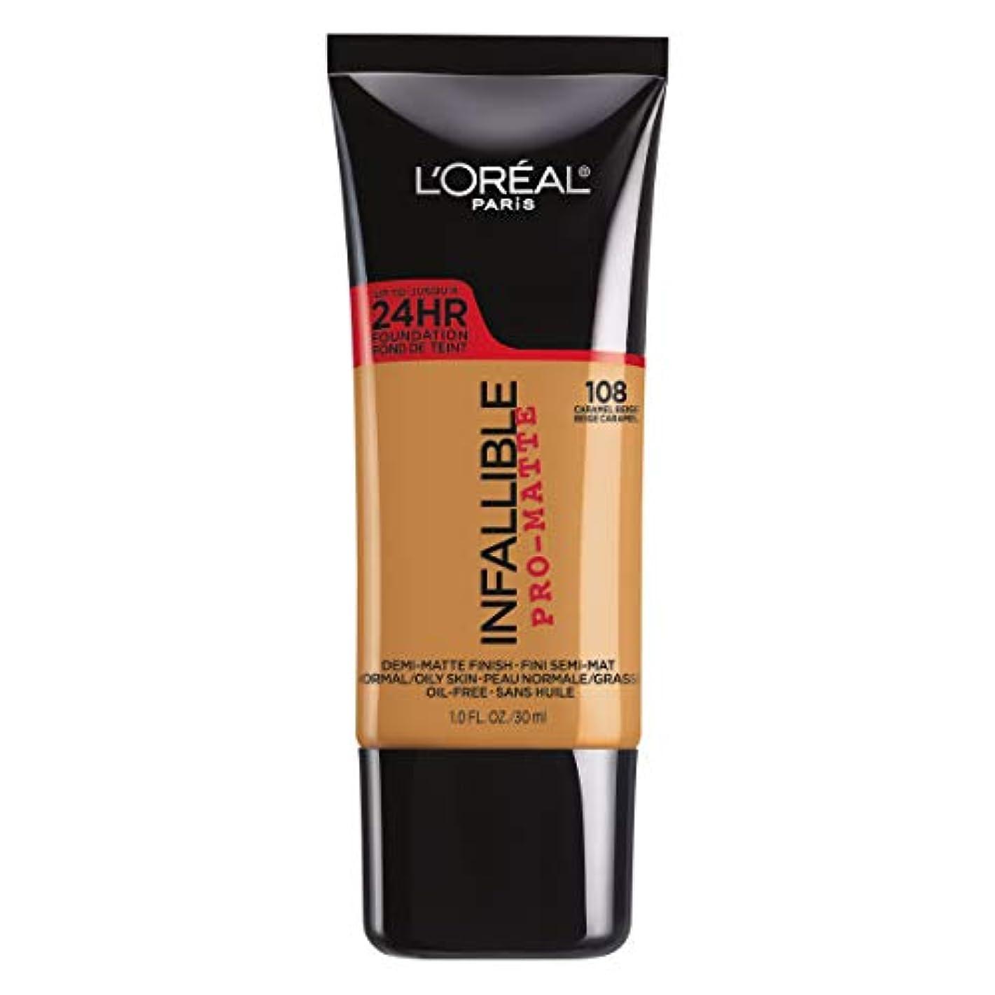 病院変更着服L'Oreal Paris Infallible Pro-Matte Foundation Makeup, 108 Caramel Beige, 1 fl. oz[並行輸入品]