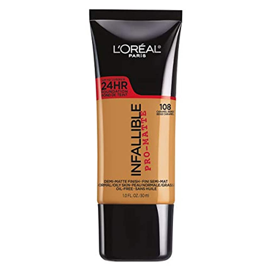 和らげる間違いラバL'Oreal Paris Infallible Pro-Matte Foundation Makeup, 108 Caramel Beige, 1 fl. oz[並行輸入品]