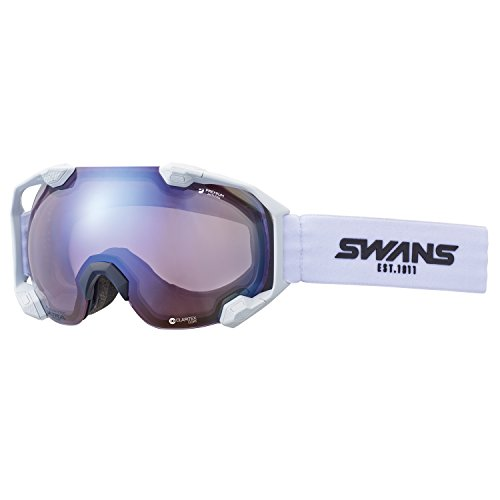 【国産ブランド】SWANS(スワンズ) スキー スノーボード ゴーグル 色が変わる調光 ウルトラレンズ プレミアムアンチフォグ搭載 シーツーエヌ C2N-CU/MDH-SC-PAF MAW マットホワイト/アイスミラー×調光ウルトラライトパープルレンズ