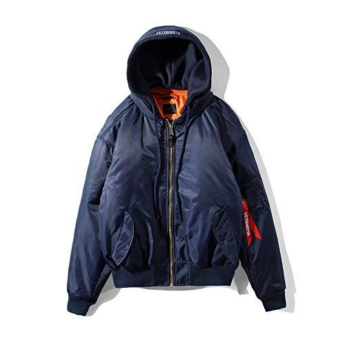 VETEMENTS HSTYLE ヴェトモン メンズ ダウンコートベスト ジャケット ストリートスタイル 濃いブルー 防寒 アウター ダウンジャケット リバーシブルボンバージャケット 暖かい コート 両面着 (L, 濃いブルー)
