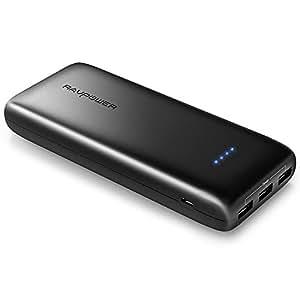 携帯充電器 RAVPower 22000mAh 大容量 モバイルバッテリー ( 急速充電 3ポート 5.8A 出力 2.4A 入力 ) iPhone 、 iPad 、 スマホ 、 タブレット 、 ゲーム機 等対応(高品質リチウムポリマー電池使用、iSmart機能搭載)-ブラック