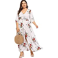 Milumia Plus Size Button up Maxi Party Dress Half Sleeves Prom Dress for Special Occasion Fit and Flare Dress