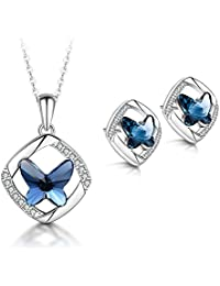T400 Jewelers Butterfly Jewelry Sets Necklace and Earrings Crystal Sterling Silver Love Gift for Women