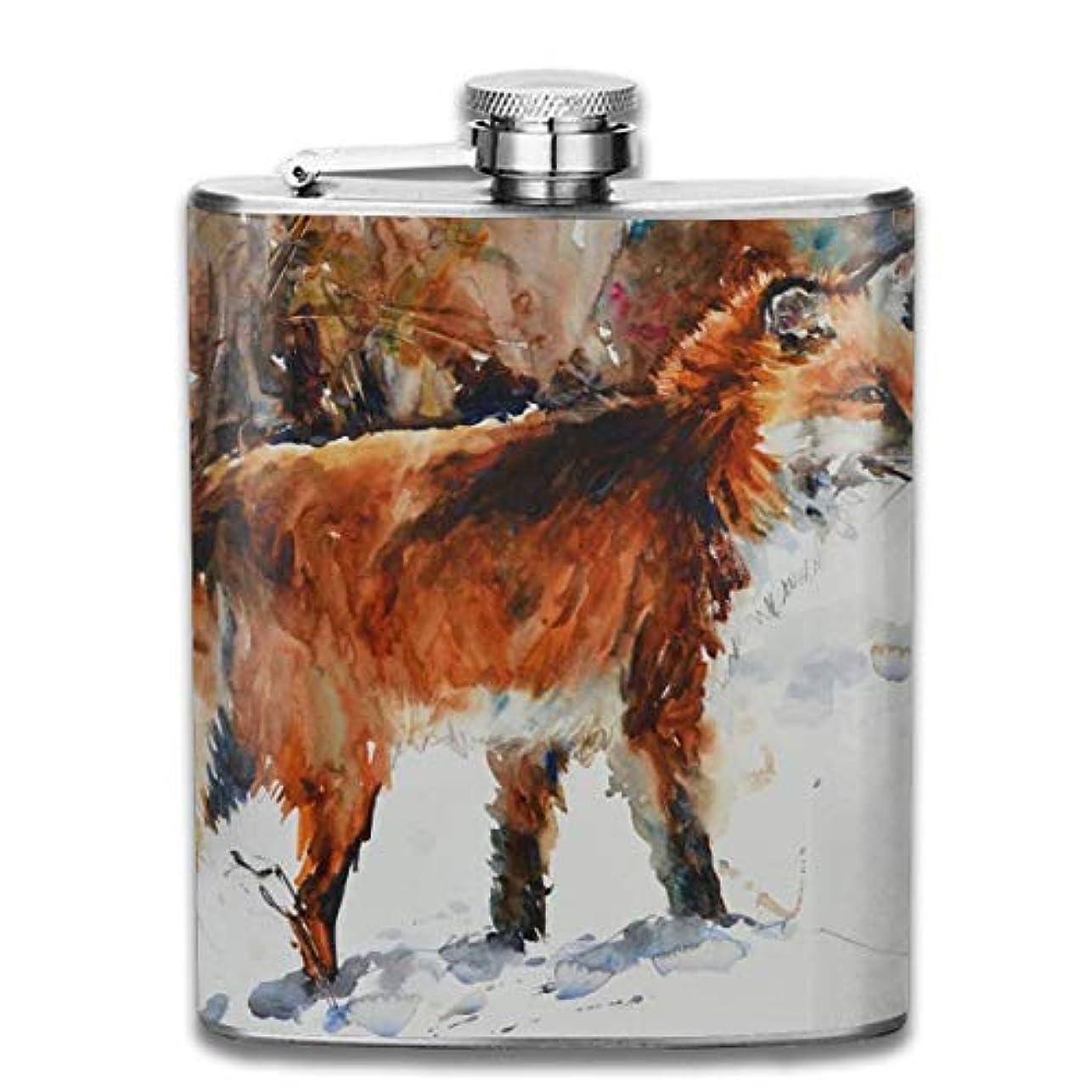 敷居教育する包括的ブルームン 酒器 酒瓶 お酒 フラスコ 動物の絵 赤い狐 ボトル 携帯用 フラゴン ワインポット 7oz 200ml ステンレス製 メンズ U型