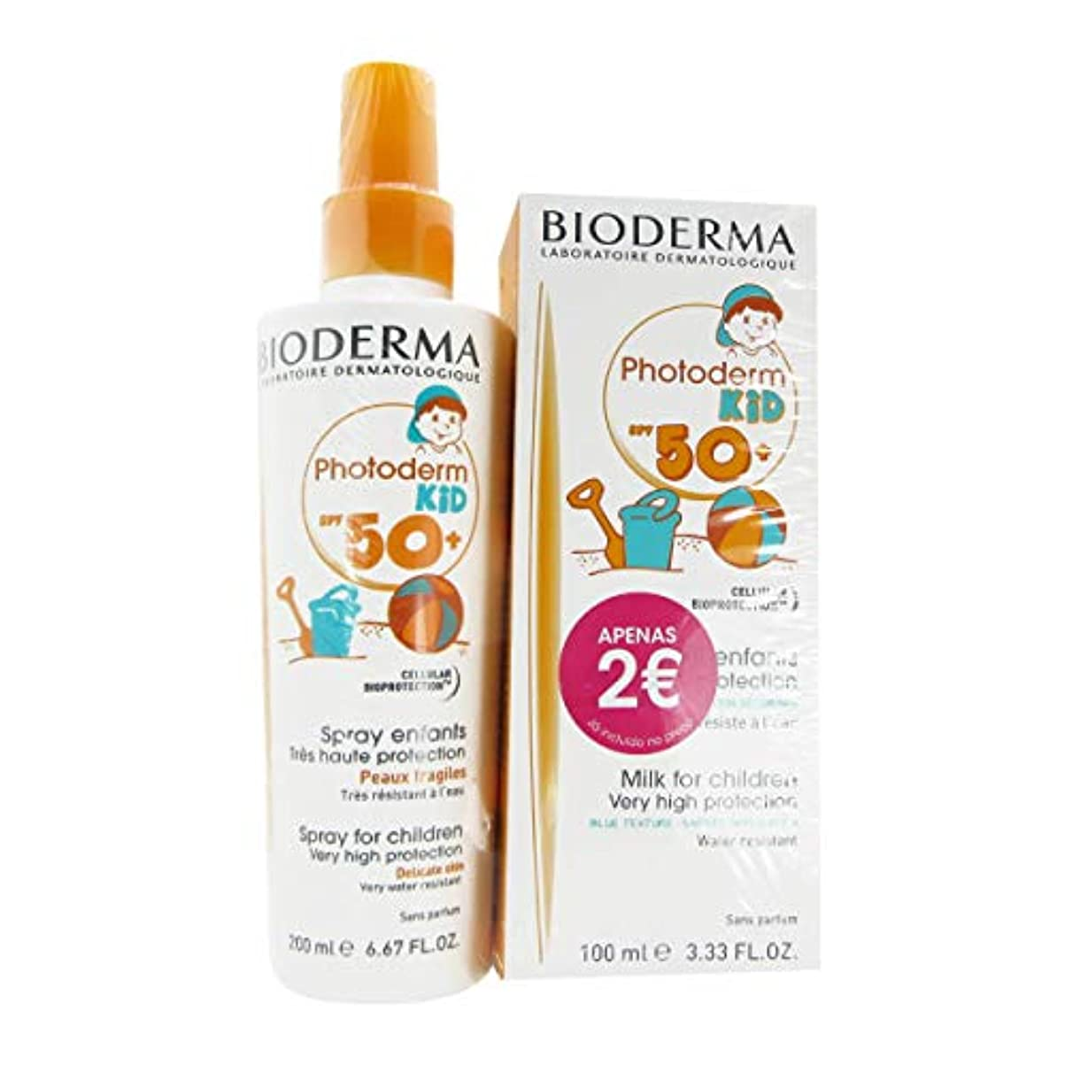 昆虫確認する展開するBioderma Pack Photoderm KID FPS50+ Spray 200ml + Photoderm Kid 50+ Milk 100ml
