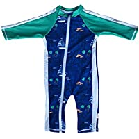 SwimZip Little Boy Long Sleeve Sunsuit with UPF 50 Sun Protection Blue Sailboat 0-6 Months