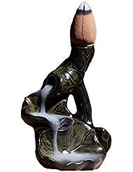 陶磁器お香ホルダー蓮の葉逆流香バーナー磁器香コーンバーナースティックホルダー逆流工芸品 芳香器?アロマバーナー (Color : Black green, サイズ : 1.96*2.75inchs)
