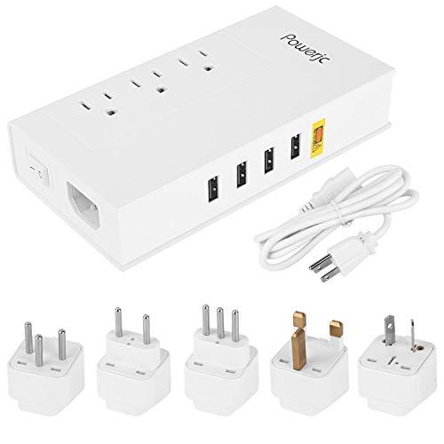 Powerjc 海外旅行用変圧器 USBポート付 マルチ変換...