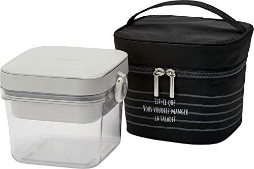 サーモス 保冷サラダコンテナー 二段式 ブラック 保冷ポーチ付き DJR-950 BK