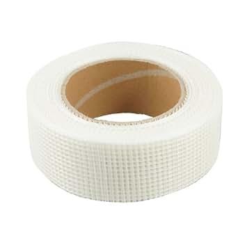 uxcell グラスファイバーメッシュジョイントテープ 抗アルカリ性樹脂テープ 自己粘着 ホワイト 44mm幅
