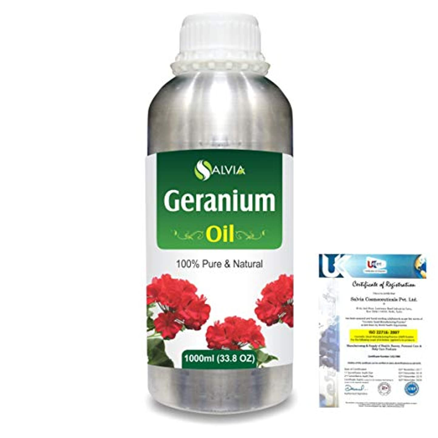 カートオプショナルポスターGeranium (Pelargonium Geranium) 100% Natural Pure Essential Oil 1000ml/33.8fl.oz.