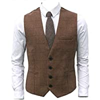 Ruth&Boaz 3Pockets 4Buttons Wool Herringbone Plaid Business Suit Vest