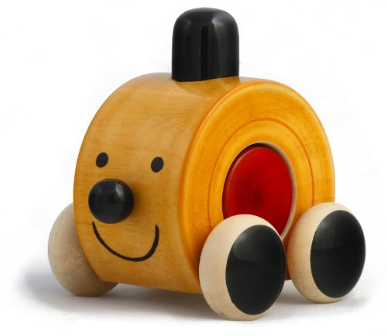 ハンドメイド木製キュートPushおもちゃカラーを使用自然Made for Toddlers 1 Year Old and up , Helpsで早期教育と開発  Moee by Maya Organic (レッド)