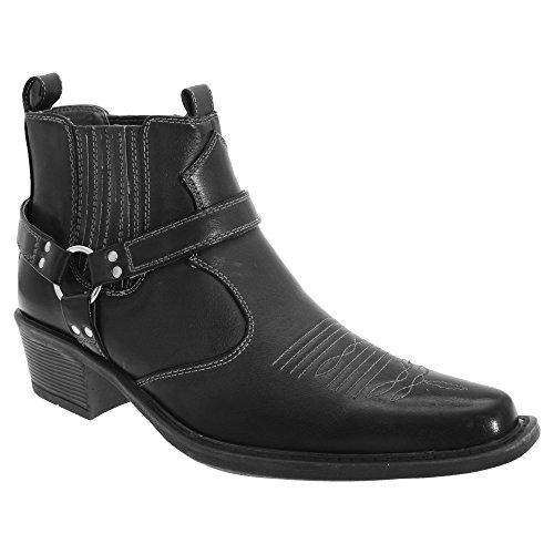 (ユーエス・ブラス) US Brass メンズ イーストウッド カウボーイアンクルブーツ ショート丈 ウエスタンブーツ ハーネスブーツ ファッション靴 男性用 (40 EUR) (ブラック)