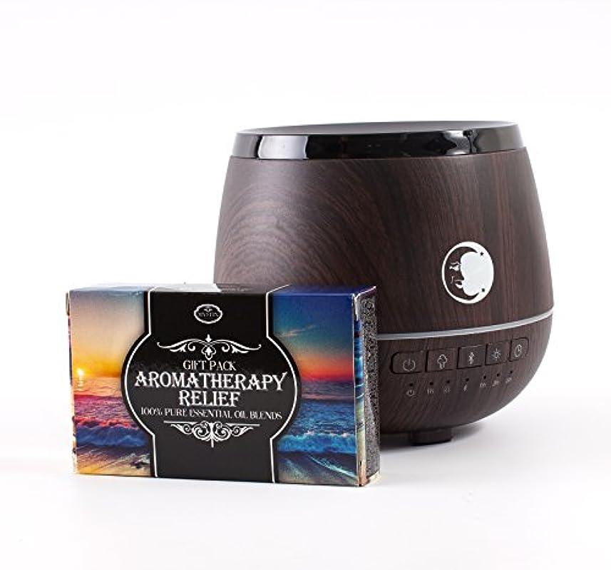 トチの実の木余韻偶然Mystic Moments   Wood Effect Aromatherapy Oil Ultrasonic Diffuser With Bluetooth Speaker & LED Lights + Aromatherapy...