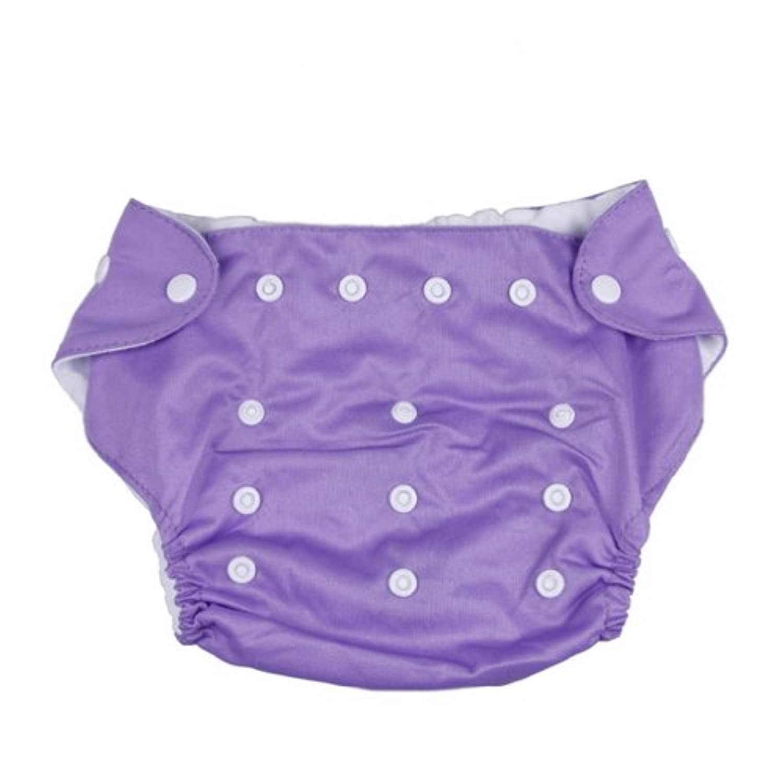 (ラボーグ)La vogue ベビー水遊び用パンツ おむつパンツ ベビースイミング ボタン付き サイズ調整可 水玉プリント図案 3kgから13kgのベビーへ パープル