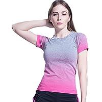 (オナーファション) Honour Fashion レディース 吸汗速乾 スポーツ ヨガ ランニング フィットネス 半袖 tシャツ (全5色) pk-l