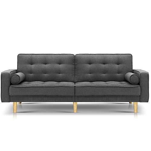 Artiss 195cm Length Fabric Lounge Sofa Bed, Grey
