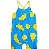 [Vaenait Baby]100%綿ベビー服ロンパースつなぎ肌着カバーオールフード付き Blue Fruits L