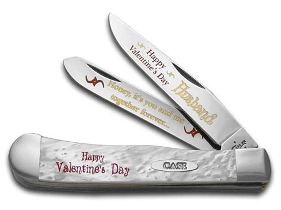 音楽レンズ機械的にケースXX Happy Valentine 's Day夫ホワイトパールトラッパー1 /500ステンレスポケットナイフ